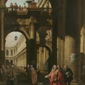 Exhibitor: Otto Naumann Ltd.  Bernardo Bellotto (Venice 1721–1780 Warsaw), Architectural Capriccio with a Self-Portrait of Bellotto in the Costume of a Venetian Nobleman  Oil on canvas, 155 x 112 cm  Price: $11.5 million USD