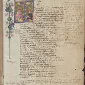 Metamorphosen des Ovid mit Notizen von Gelehrten Die Miniatur zeigt die Übergabe eines Buches um 1440