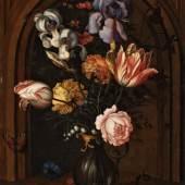 Balthasar van der Ast, Blumenvase vor einer Nische mit Schmetterling, Fliege, Libelle und Eidechse  Ergebnis: €124.000