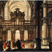Dirck van Delen, Kircheninterieur mit der Darbringung im Tempel   Ergebnis: €99.200
