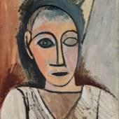 Pablo Picasso   Brustbild eines Mannes (Studie zu Les Demoiselles d'Avignon), 1907   Photo © Succession Picasso / Bildrecht Wien, 2021 / RMN-Grand Palais (Musée national Picasso-Paris) / Adrien Didierjean
