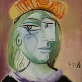 Pablo Picasso, Femme au béret rouge-orange