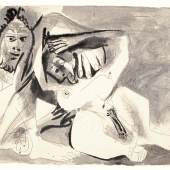 Pablo Picasso, Homme et femme nus, brush and ink, wash and pencil on paper, 29th November 1971 (est. £250,000-350,000)