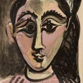 Pablo Picasso, Tête de femme, oil on paper (est. £1,200,000-1,800,000)