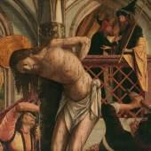 Michael Pacher  Geißelung Christi, um 1495-1498  Malerei auf Zirbenholz  113 x 139,5 cm  Belvedere, Wien