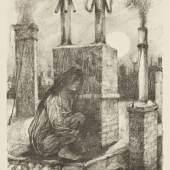 """Hans Baluschek Die Irre, 1920 Aus dem Mappenwerk """"6 Originallithographien"""", Carl P. Chryselius'scher Verlag, Berlin 1921 Lithografie auf Papier Bröhan-Museum Foto: Martin Adam, Berlin"""