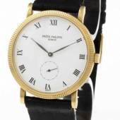 """Patek Philippe-Armbanduhr """"Calatrava"""" Clou de Paris Gehäuse aus Gelbgold 750. Orig.-Krokodillederband mit Dornschließe aus Gelbgold 750.  Aufrufpreis:3.800 EUR"""