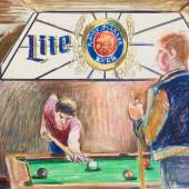Patrick Angus, Pool Table Lite Beer crayon on paper, framed, 22.7 x 30.5 cm © Douglas Blair Turnbaughimage 3 of 12previousnextclose