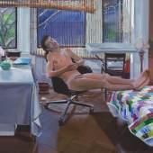 Patrick Angus, Seated Nude (With Quilt) 1989, Acryl auf Leinwand, 61,4 x 81,5 cm