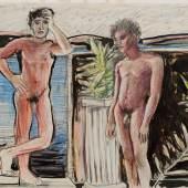 Patrick Angus, Two Boys with Plant, Buntstift auf papier, 35,5 x 43 cm, courtesy/ Galerie Thomas Fuchs and the artist © Douglas Blair Turnbaugh