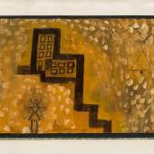 PAUL KLEE (Muenchenbuchsee/Bern 1879 - 1940 Muralto/Tessin) Das Haus in der Höhe, 1923 Oil, watercolor, and ink on paper, mounted on card, 14.9 x 20.2 in (37.8 × 51.4 cm)