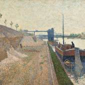 Paul Signac, Quai de Clichy. Temps Gris, 1887, oil on canvas, 46 by 65.5cm. (est. £600,000 – 800,000)