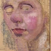 Paula Modersohn-Becker, Selbstbildnis die rechte Hand am Kinn, Sommer 1906, Monotypie auf liniertem Papier, Paula-Modersohn-Becker-Stiftung, Bremen