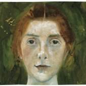 Paula Modersohn-Becker, Selbstbildnis frontal, um 1897, Aquarell, Paula-Modersohn-Becker-Stiftung, Bremen