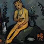 Paula Modersohn-Becker: Sitzender Mädchenakt mit Vasen, 1906/07, Von der Heydt-Museum, Wuppertal