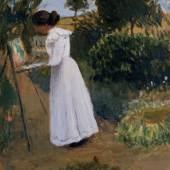 Paula Modersohn Becker im Garten malend 1901 Otto Modersohn Foto Paula Modersohn Becker Stiftung