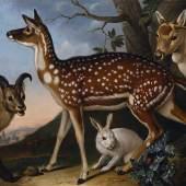 Philipp Ferdinand de Hamilton  Damwild, Steinbock und Hase, 1723  Öl auf Leinwand  108 x 126 cm  © Belvedere, Wien