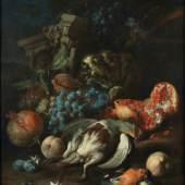 Franz Werner Tamm  Früchtestück mit totem Rebhuhn und Gimpelmännchen, 1720  Öl auf Leinwand  72 x 57 cm  © Belvedere, Wien