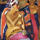 Max Pechstein, Frauen mit buntem Teppich, 1920, Öl auf Leinwand, 117 x 91.5 cm, Kunstmuseum Luzern