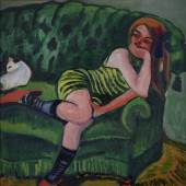 Max Pechstein Das grüne Sofa 1910 Öl auf Leinwand 96,5 x 96,5 cm Museum Ludwig, Köln © Pechstein Hamburg-Tökendorf