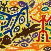 A. R. Penck (1939–2017) Ohne Titel (Figürliche Komposition) Farbserigrafie Blattmaße: 122x86 cm Erg: €2.300