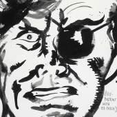 Raymond Pettibon: untitled (Self-portrait with eye-patch), 1998. Schreibstift und Tusche auf Papier. 57,1 x 38,1 cm. © Raymond Pettibo