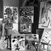 Edward Quinn, Picasso im Atelier, um 1955, Vintage Silbergelatine-Abzug auf Ilford Papier, 24 x 18.2 cm, Galerie WOS, Pfäffikon-CH