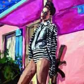 Saša Makarová Im Garten Mit den Waffen einer Frau Öl auf Leinwand verso signiert, 2016 100 x 120 cm