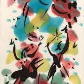 Corona 3 - Das Fest Alkoholfarbe / japanische Tusche monogrammiert 30 x 20 cm