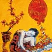 Roman Scheidl Kleine Sanfte auf Gelb Öl auf Leinwand WVZ-Nr. 20-21/1, 60 x 50 cm