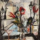 Blick auf Paris Öl auf Leinwand signiert und datiert 1956 73 x 54 cm