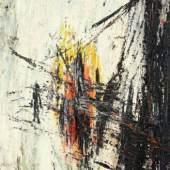 Sunset in the Space Öl auf Leinwand signiert und datiert (19)56 55 x 38 cm