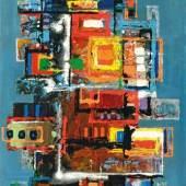Lucas Suppin Geschichtete Landschaft (auf Blau)  Öl und Lackfarben auf Platte signiert und datiert 26. VI. 1969 100 x 70 cm