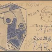 ((Bild Picasso-PK Zeichnung; Bildnachweis: Auktionshaus Gärtner)): Aufmunterungsgruß des Meisters an den kranken Freund: Pablo Picasso fertigte auf einer Ansichtskarte diese kubistische Zeichnung an, um seinem Freund Guillaume Apollinaire gute Besserung zu wünschen.