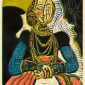 Lot 269 Nr. 393 237 Pablo Picasso Portrait de jeune Fille, d'après Cranach le Jeune. II, 1958 Original-Farblinolschnitt auf festem Velin, 65 x 53,2/53,7 cm (76,1 x 57,2 cm) Exemplar 12/50. Bloch 859; Baer 1053 C.a. Schätzpreis: € 350.000 – 450.000,-