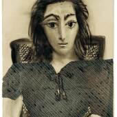 Pablo Picasso, Jacqueline, 1957, Metallbänder, Klebemittel und Kohle auf Papier und Packpapier, Sammlung Catherine Hutin © Succession Picasso/VG Bild-Kunst, Bonn 2019. Photo: Claude Germain