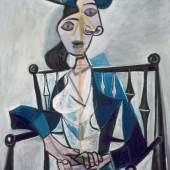 Pablo Picasso (1881 - 1973), Sitzende Frau, 1941  © Bayerische Staatsgemäldesammlungen, Sammlung Moderne Kunst in der Pinakothek der Moderne München © Sucession Picasso / VG Bild-Kunst, Bonn 2013