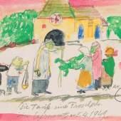 kar Laske  Taufe eines Frosches, 1949  Aquarell und Bleistift/Papier 16,5 x 19,5 cm  beschriftet und datiert Die Taufe eines Frosches in Czernowitz am 5.4.1949  Preis: € 2.900,-