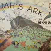 """Oskar Laske  Arche Noah - Leporello  Farblithografie/Papier 25 x 35,5 cm  Leporello von 12 Farblithografien  Anton Schroll & Co Press, Wien  betitelt """"Noah's Ark by Oskar Laske"""" Preis: € 1.400,-"""