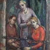 Marianne Fieglhuber-Gutscher  Drei Frauen am Balkon  Öl/Leinwand 115 x 101 cm  datiert um 1934 verso beschriftet 3 Frauen am Balkon, nummeriert 60, Preis: € 16.000,-