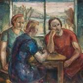 Marianne Fieglhuber-Gutscher  Drei Frauen am Tisch sitzend  Öl/Leinwand 100,7 x 119,2 cm  signiert Fieglhuber-Gutscher, datiert 1939 verso beschriftet M. Fieglhuber-Gutscher, 3 Mädchen am Tisch sitzend, Marianne G.-F. VI., Sandwirtg. 1 Preis: € 16.000,-