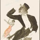 Wilhelm Thöny  Black Nightingales, um 1935  Aquarell und Tusche/Papier 37 x 30 cm  signiert W. Thöny, Paris Preis: € 28.000,-