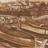 Karl Hauk  Fischerboote, 1930  Pastell/Papier, 30 x 40 cm  monogrammiert HK