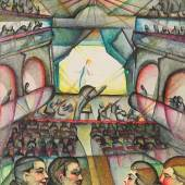 Johanna Reismayer-Fritsche  Theaterbesuch, um 1923  Aquarell/Papier 12,3 x 11,3 cm Preis: € 1.900,-