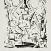 Lyonel Feininger Mellingen, 1919 Holzschnitt auf chinesischem Papier 30,4 x 25,4 cm Kunstsammlungen Chemnitz Sammlung Loebermann Foto: Kunstsammlungen Chemnitz/László Tóth © VG Bild-Kunst, Bonn 2017