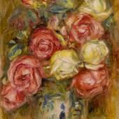 Pierre-Auguste Renoir, Roses dans un vase décoré