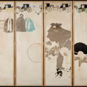 Pierre Bonnard, Der Spaziergang der Ammen – Fiakerfries, 1894/97, Vierteiliger Wandschirm, Lithografien in fünf Farben, je 143 x 46 cm, Privatbesitz © Städel Museum, Frankfur
