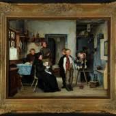 """Piltz, Otto, 1846 Allstedt - 1910 Pasing Öl/Lwd, 65 x 84 cm, """" Stubeninterieur mit Bauersleuten und zwei Buben, Mindestpreis:4.800 EUR"""