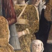 """Barbara Gonzaga auf dem Wandbild von Andrea Mantegna in der """"Camera degli Sposi"""" des Palazzo Ducale in Mantua (um 1474) (Vorlage: Palazzo Ducale, Mantua)"""