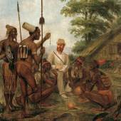 """""""Begrüßung des Dr. Finsch in Dallmannshafen (Kaiser-Wilhelms-Land)"""" (1.7 MB) Moritz Wilhelm Hoffman (1823–1896), um 1885/90 Tempera auf Leinwand 90,8 x 110 cm Übersee-Museum Bremen, Inv. Nr. D 15.393"""